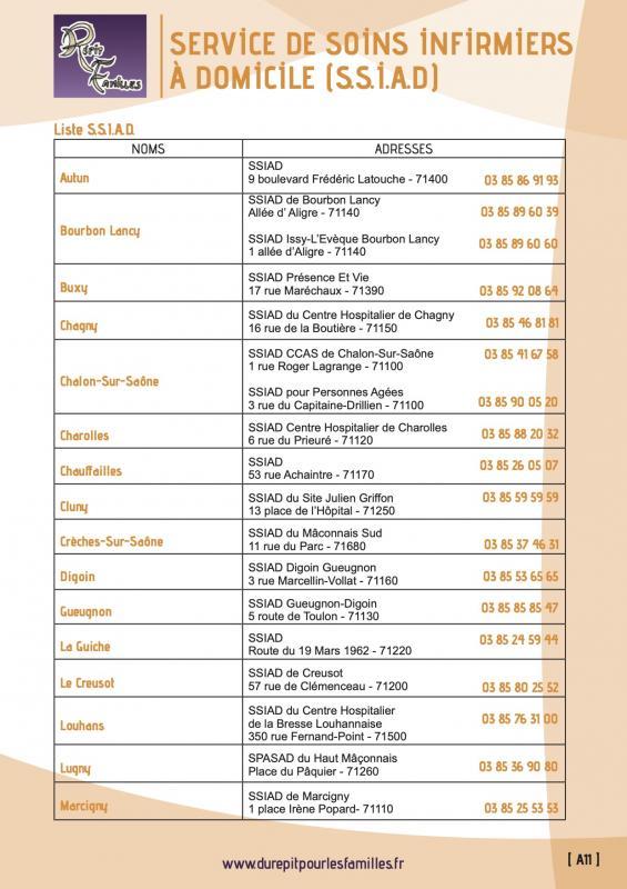 A11 service de soins infirmiers a domicile ssiad liste 1