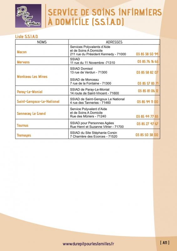 A11 service de soins infirmiers a domicile ssiad liste 2